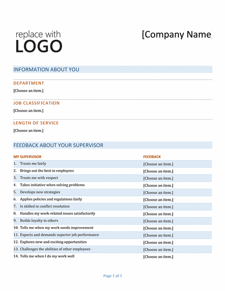 Surveys for Student feedback form template word