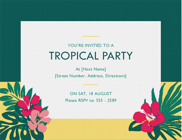 Party invitation tropical Office Templates – Invitation Word Template