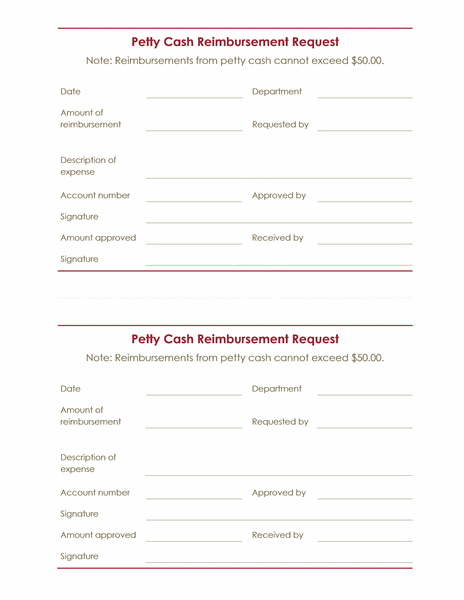 Petty cash reimbursement request (2 per page)