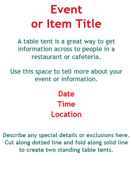 Folding Table Tents (2 Per Page)