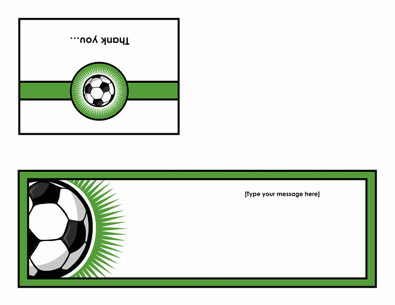 Thank you card (with soccer ball, quarter-fold) - Office Templates