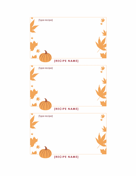 Thanksgiving recipe cards (pumpkin, 3 per page)