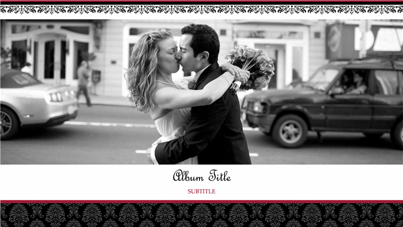 wedding photo album (black and white design, widescreen) - office, Powerpoint templates