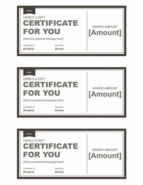 Gift Certificates (black U0026 White, 3 Per Page)  Ms Office Certificate Template