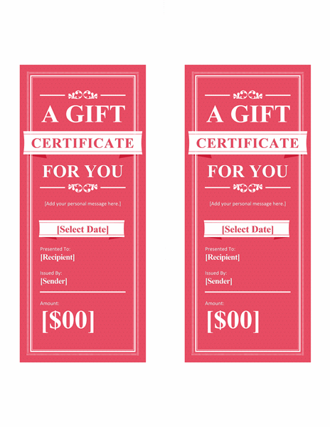 Gift certificates (red, 2 per page)