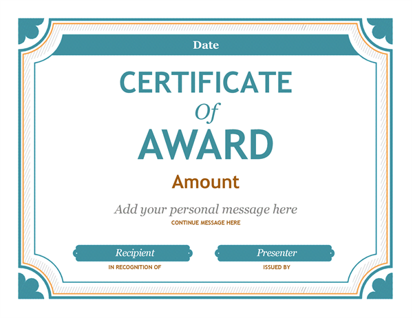 Gift Certificate Award  Certificate Of Achievement Template Word