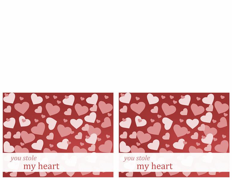 Valentine note cards (2 per page, works with Avery 3379)