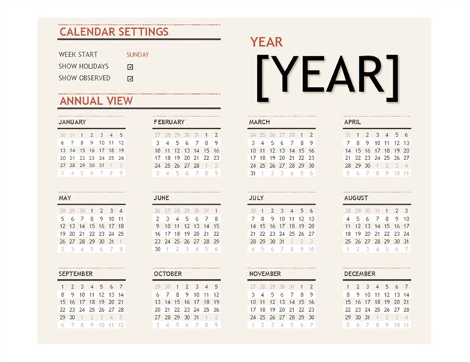 Any year calendar with holidays