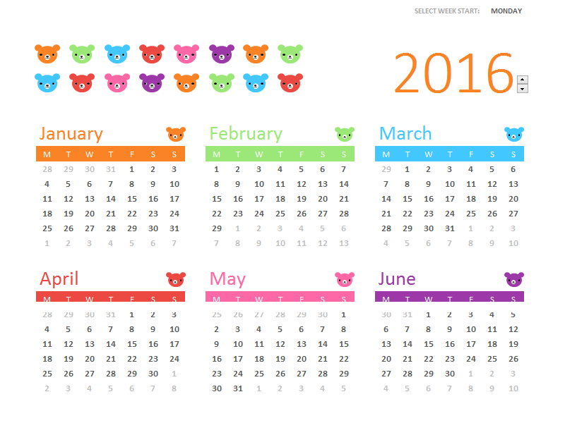 Any year calendar (1 page, Rainbow Bears design)