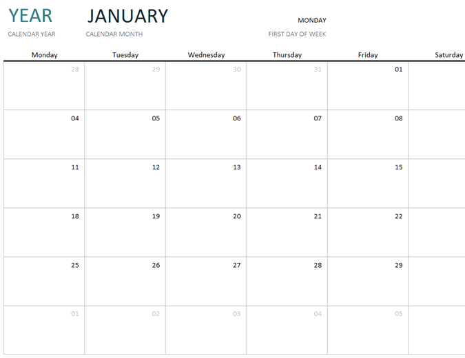 Any year one-month calendar - Office Templates