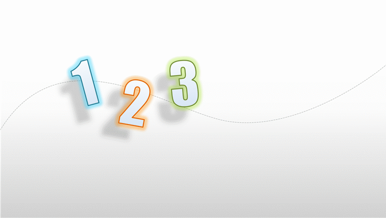 Animation slide: Numbers slide in on curved path (widescreen)