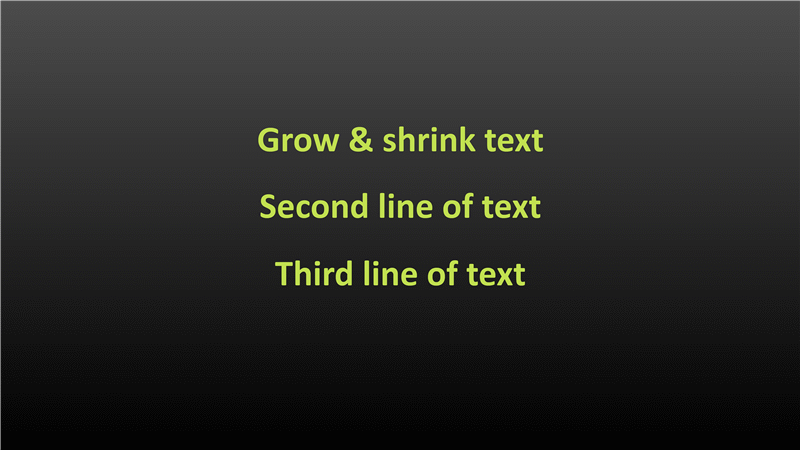 Animation slide: Text grows and shrinks (widescreen)