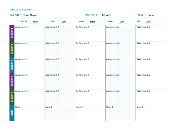 Weekly Assignment Sheet Color Landscape Office Templates