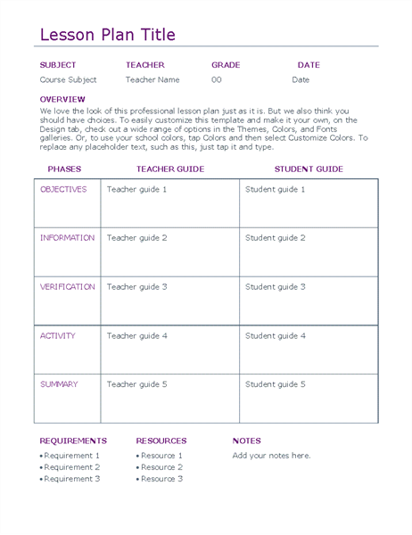 Education Officecom - Secondary lesson plan template