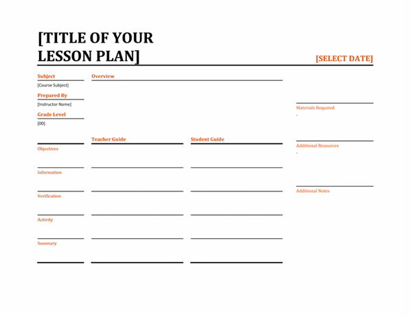 Daily lesson planner (color, landscape)