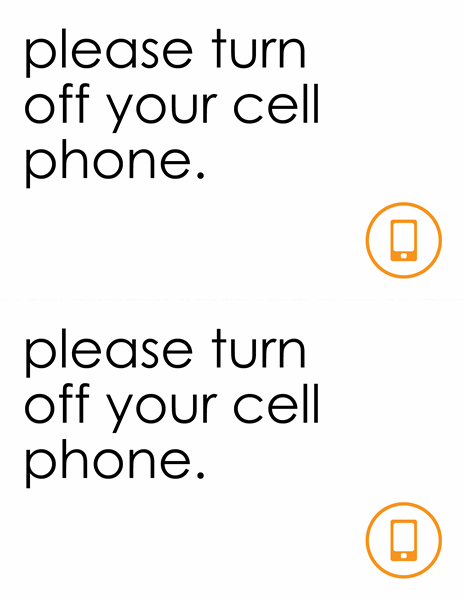 Turn off cell phones sign (2 per page)