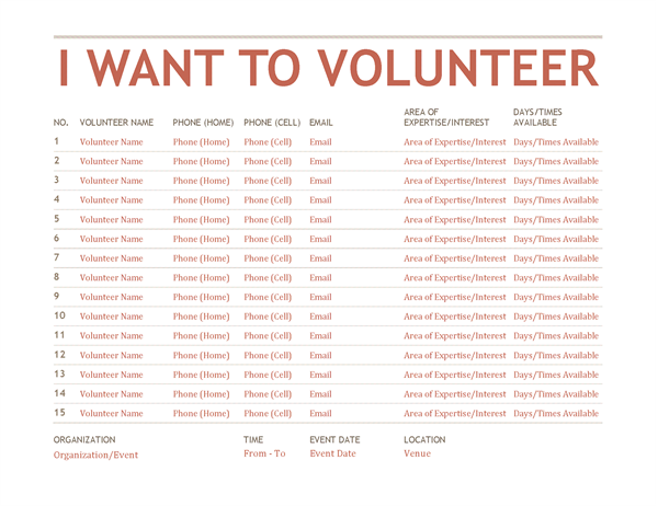 Volunteer signup sheet Office Templates – Signup Sheets