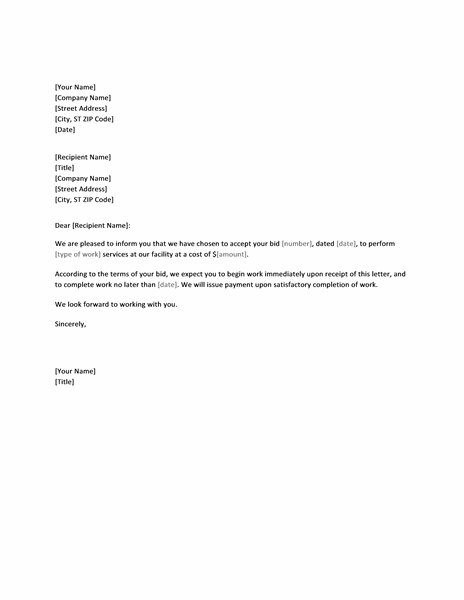 Letter accepting bid Office Templates – Bid Letter Template