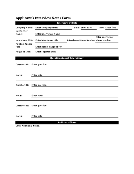 Applicantu0027s Interview Notes Form  Interview Question Template