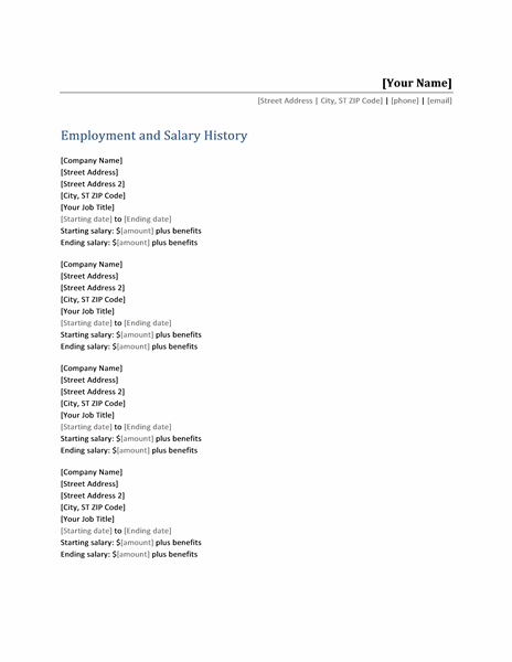 Employment and salary history list Office Templates – Employment History Template