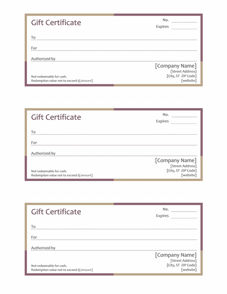 Gift certificates (3 per page, multi-colored border)