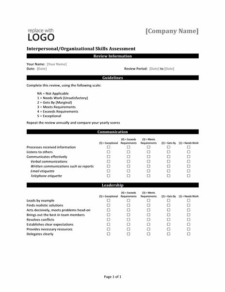 Interpersonalorganizational skills assessment form Office Templates – Skills Assessment Template