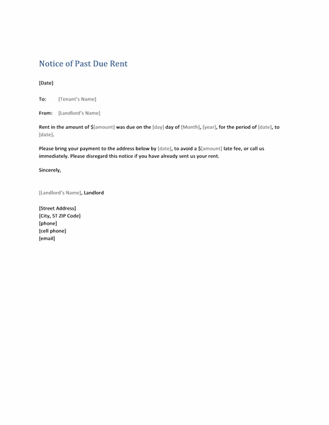 Notice of past due rent (form letter)
