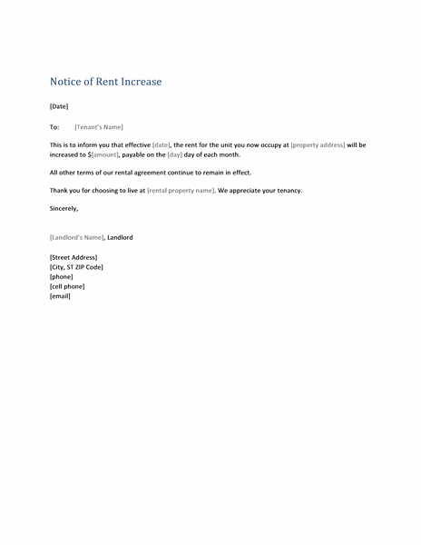 Notice of rent increase (form letter)