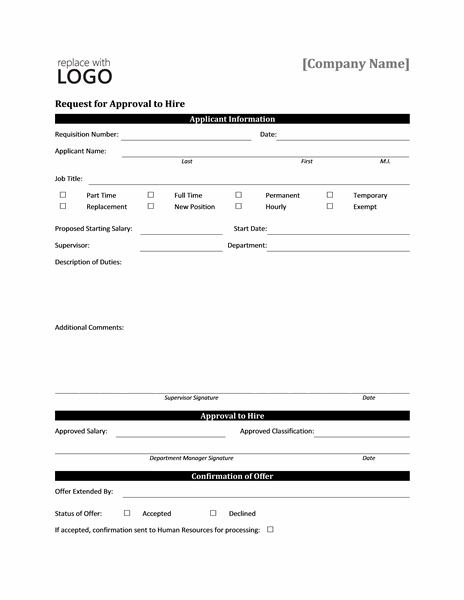 Request Form For Approval To Hire  Forms Templates Word