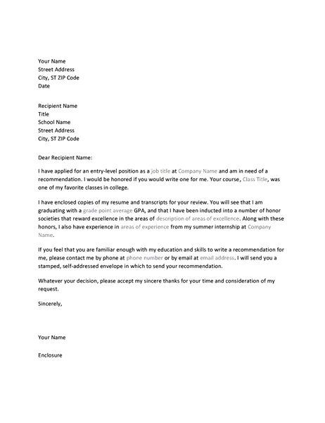 Letter To Professor Requesting Job Recommendation