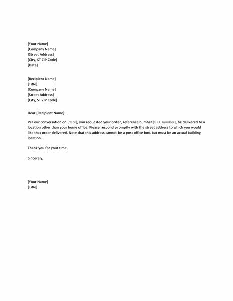 Letter requesting street address for order