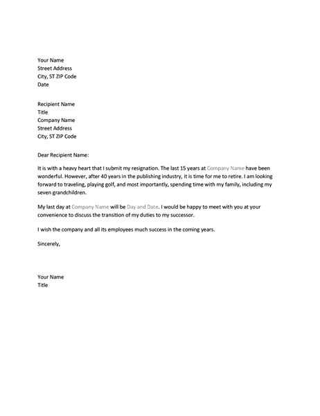 resignation letter due to retirement. Resume Example. Resume CV Cover Letter