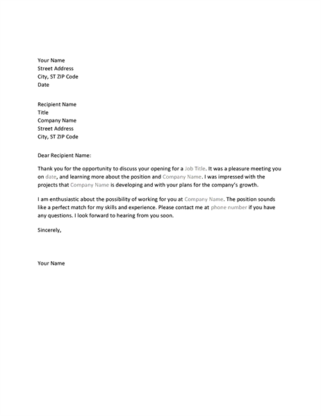 Interview thank you letter Office Templates – Interview Thank You Letters
