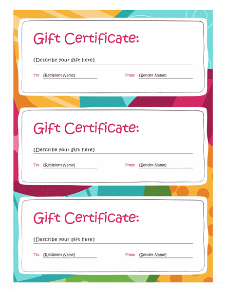 Beautiful Gift Certificates (Bright Design, 3 Per Page) For Microsoft Office Gift Certificate Template