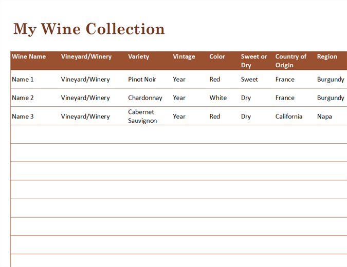 Wine Collection List  Free Wine List Template