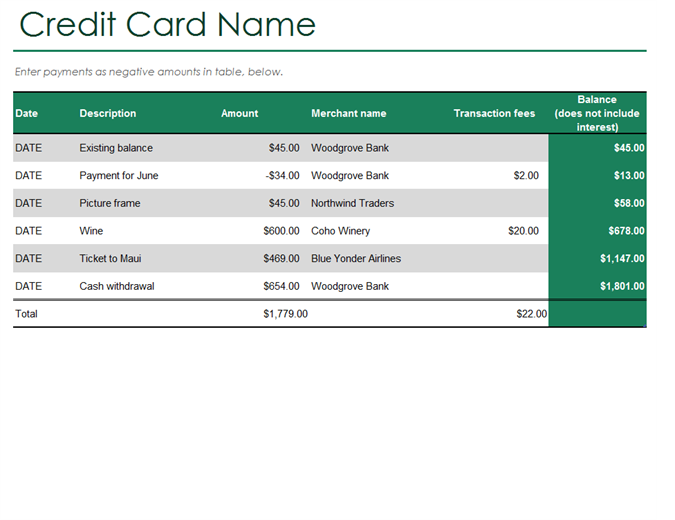Credit Card Log  Line Card Template