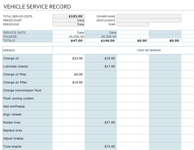 Vehicle Service Record Office Templates - How to create invoice in excel cricket store online