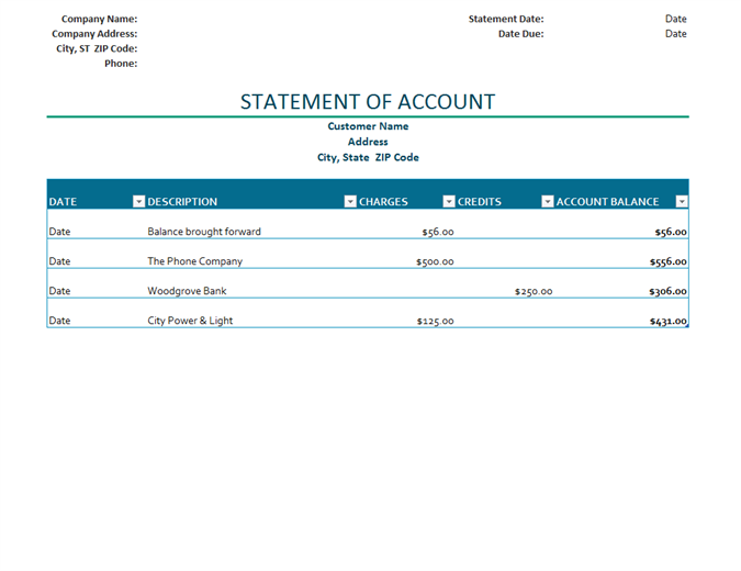 Invoice With Finance Charge Excel · Billing Statement Of Account