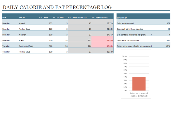 Daily Food Calorie And Fat Log  Calorie Diary Template