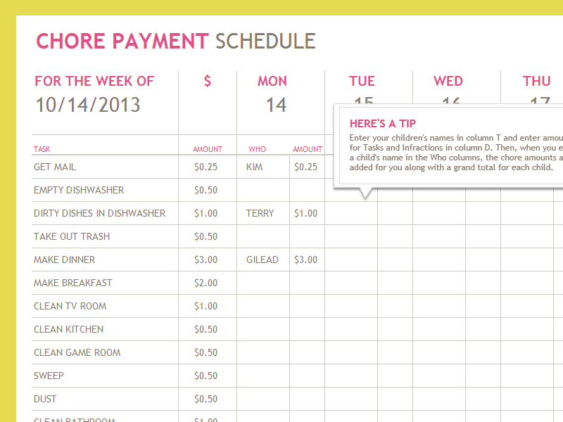 Chore payment schedule - Office Templates