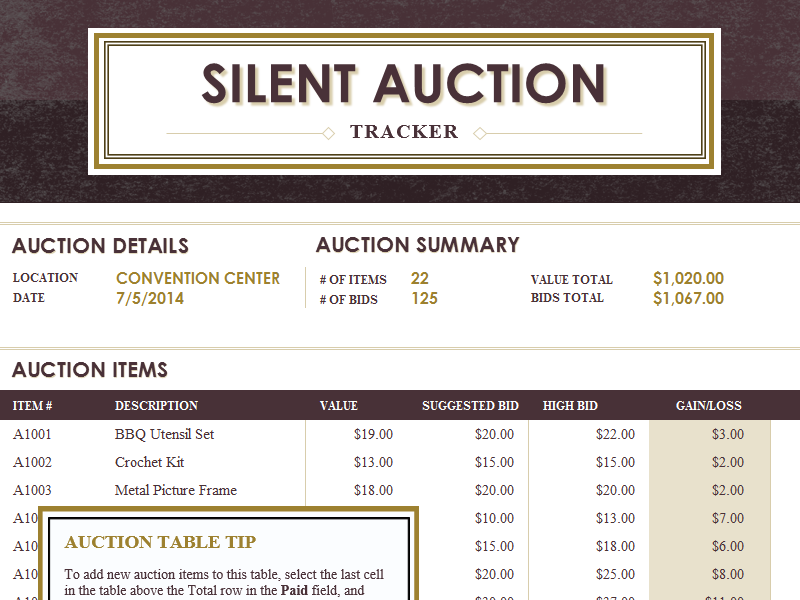 Silent auction tracker - Office Templates