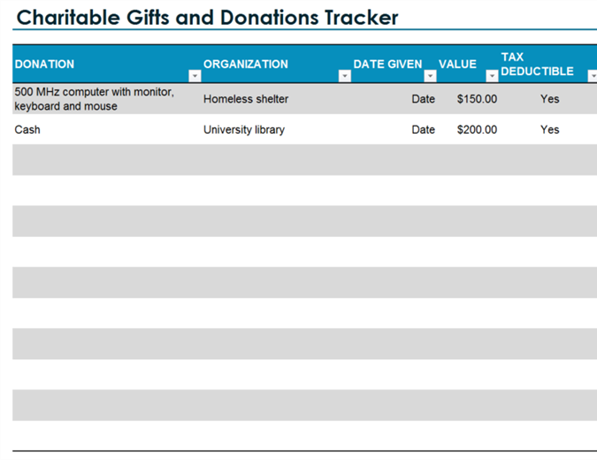 Charitable Gifts And Donations Tracker  Donations Template