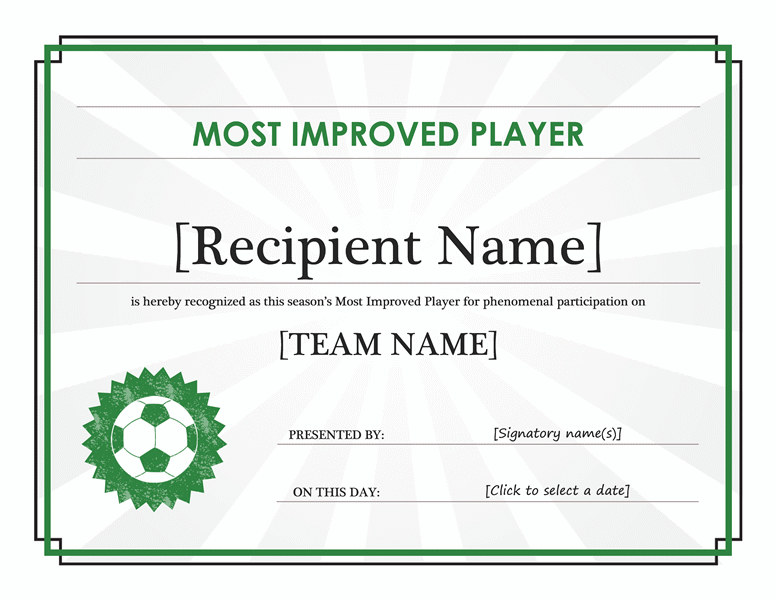 Most Improved Player Certificate (editable Title)  Attendance Certificates Printable