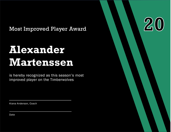 Most Improved Player Award Certificate  Certificate Of Participation Template