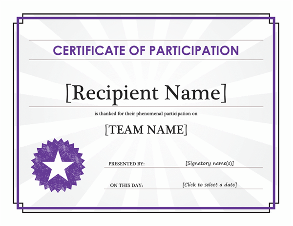 Certificate Of Participation - Office Templates