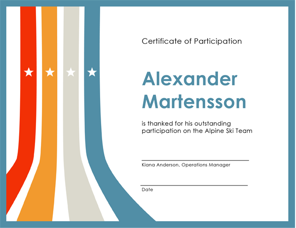 Certificate of participation Office Templates – Certificate of Participation Template