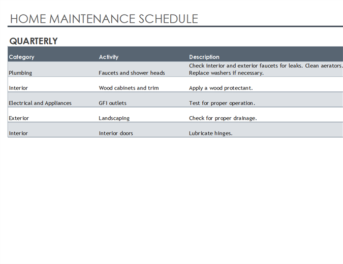 maintenance schedule template excel
