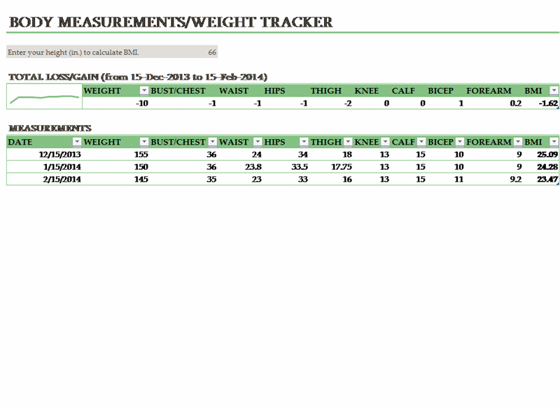 Body weight and measurements tracker