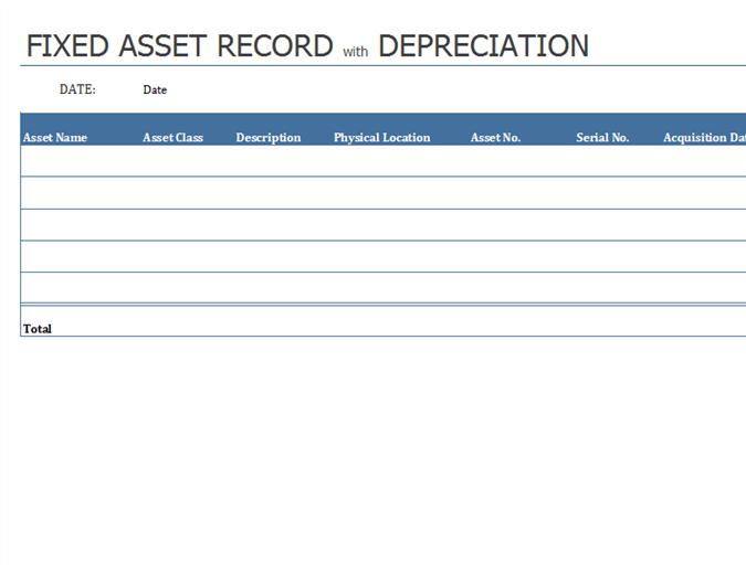 Fixed asset record with depreciation