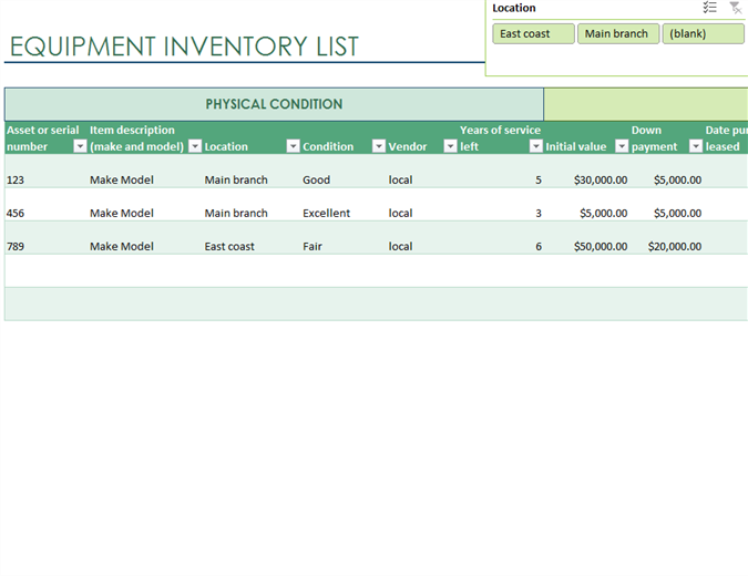 Equipment inventory list office templates equipment inventory list pronofoot35fo Image collections